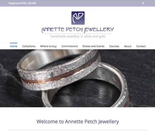 web design for Annette Petch jewellery