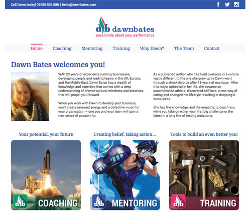 web design for Dawn Bates Coaching