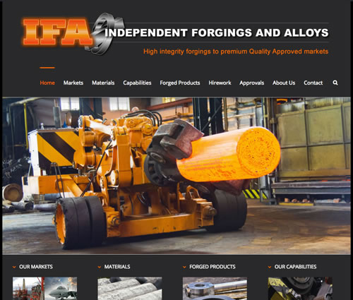 web design for Independent Forgings Sheffield