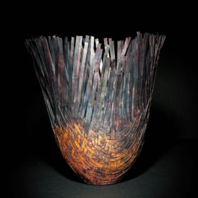 Woven copper vase by Jodi Hatcher