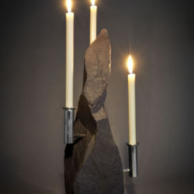 Slate and silver candleholder by Victoria Radcliffe